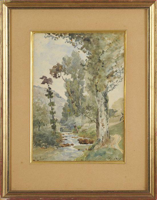 Louis Cabie - Beune Eyzies aquarelle cadre